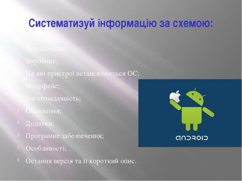 Систематизуй інформацію за схемою: Призначення; Виробник; На які пристрої вст...
