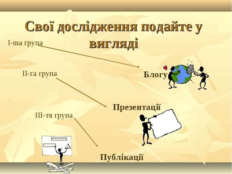 Свої дослідження подайте у вигляді І-ша група ІІ-га група ІІІ-тя група Презен...