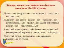 Задание: записать и графически объяснить написание Н и НН в словах Нетка…ая с...