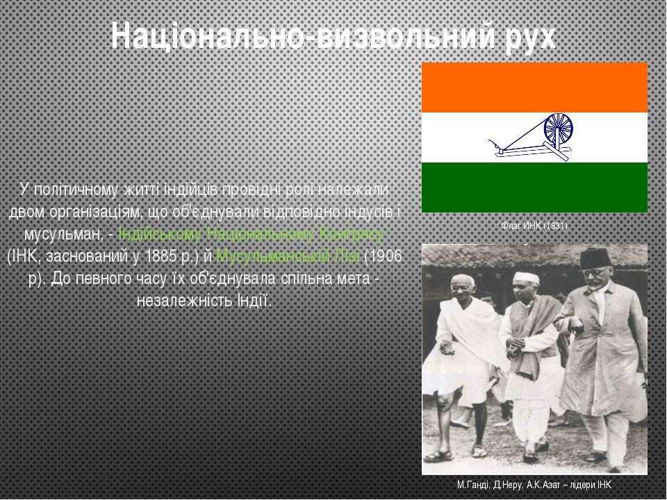 Національно-визвольний рух У політичному житті індійців провідні ролі належал...