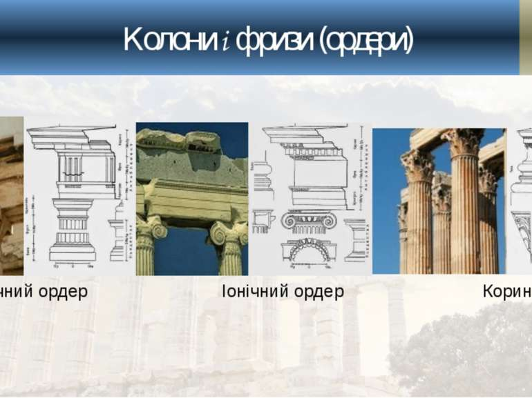 Колони і фризи (ордери) Доричний ордер Іонічний ордер Коринфський ордер