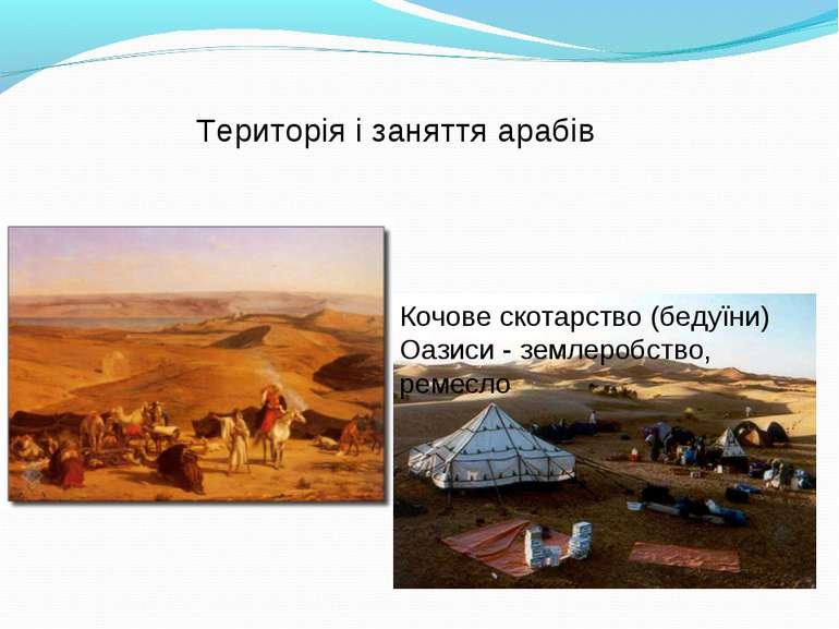 Кочове скотарство (бедуїни) Оазиси - землеробство, ремесло Територія і занятт...