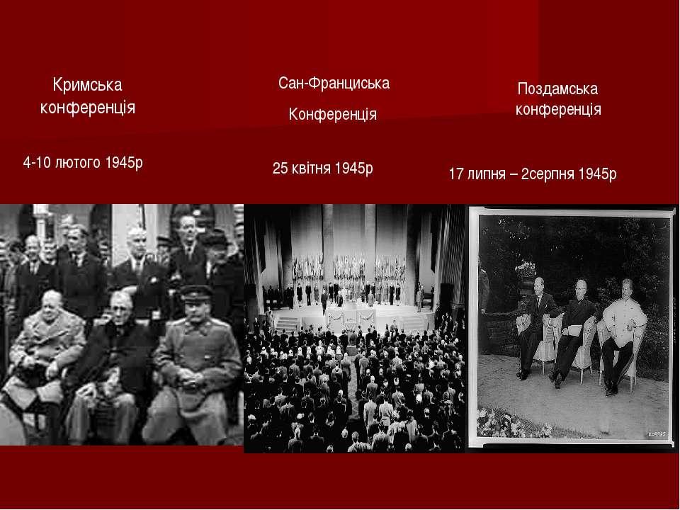 Кримська конференція 4-10 лютого 1945р Сан-Франциська Конференція Поздамська ...