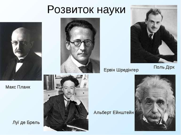 Розвиток науки Макс Планк Луї де Брель Ервін Шредінгер Поль Дірк Альберт Ейнш...