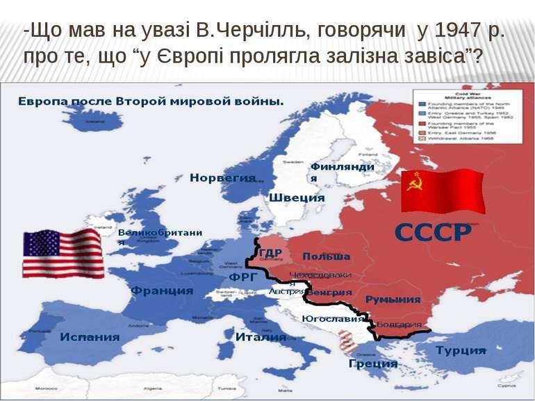 """-Що мав на увазі В.Черчілль, говорячи у 1947 р. про те, що """"у Європі пролягла..."""