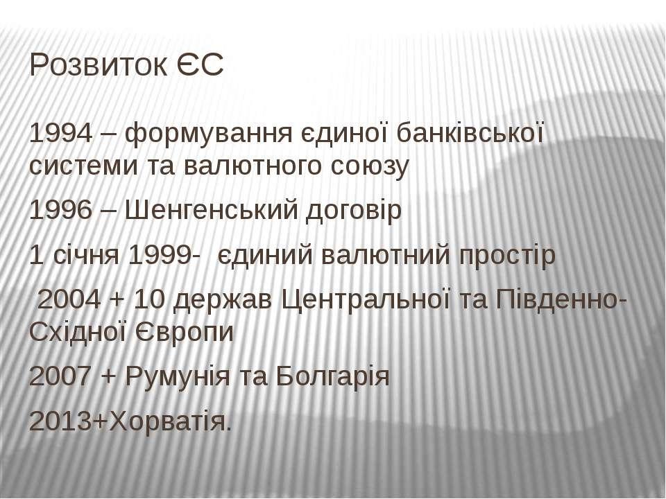 Розвиток ЄС 1994 – формування єдиної банківської системи та валютного союзу 1...