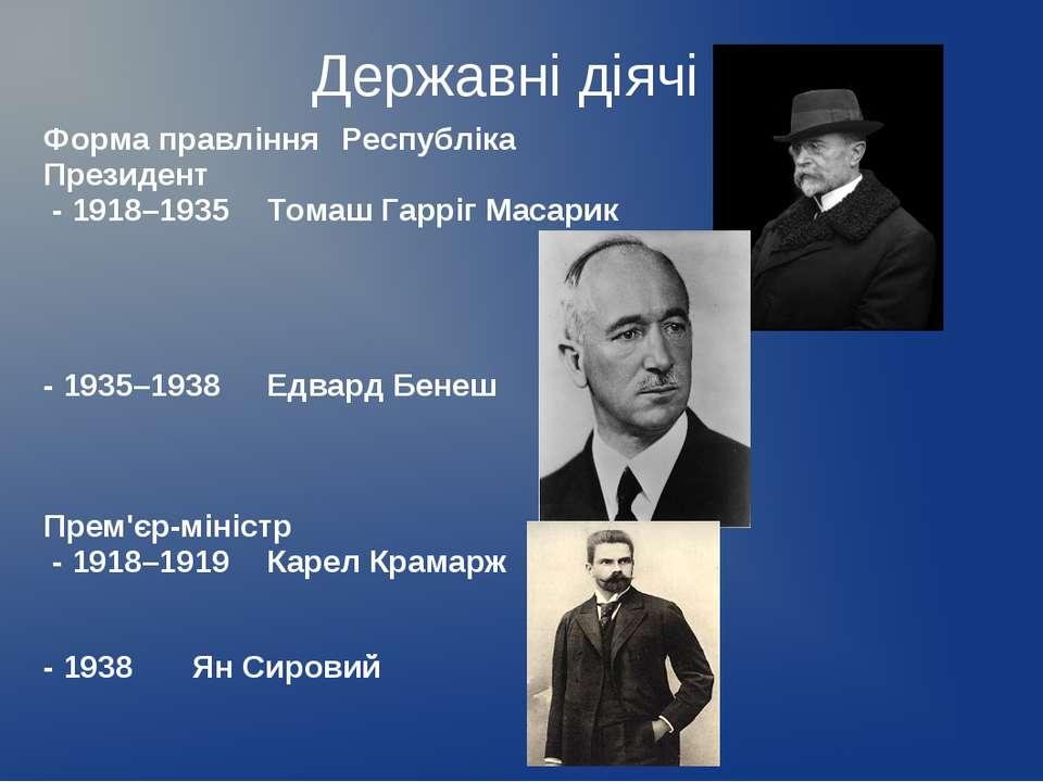 Державні діячі Форма правління Республіка Президент - 1918–1935 Томаш Гарріг ...