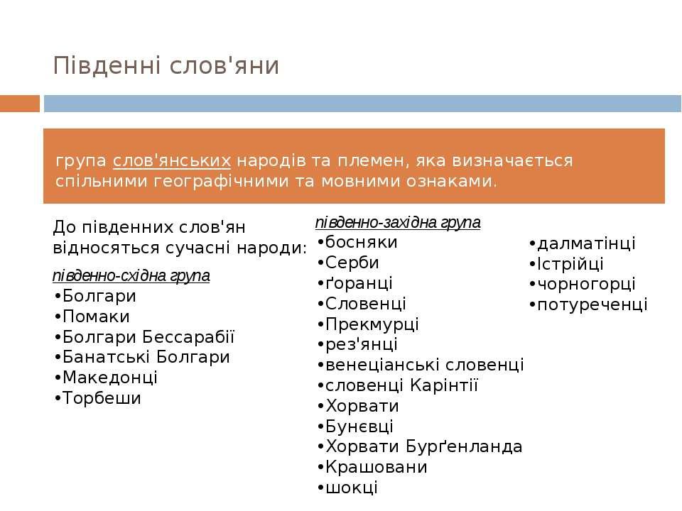 Південні слов'яни групаслов'янськихнародів та племен, яка визначається спіл...