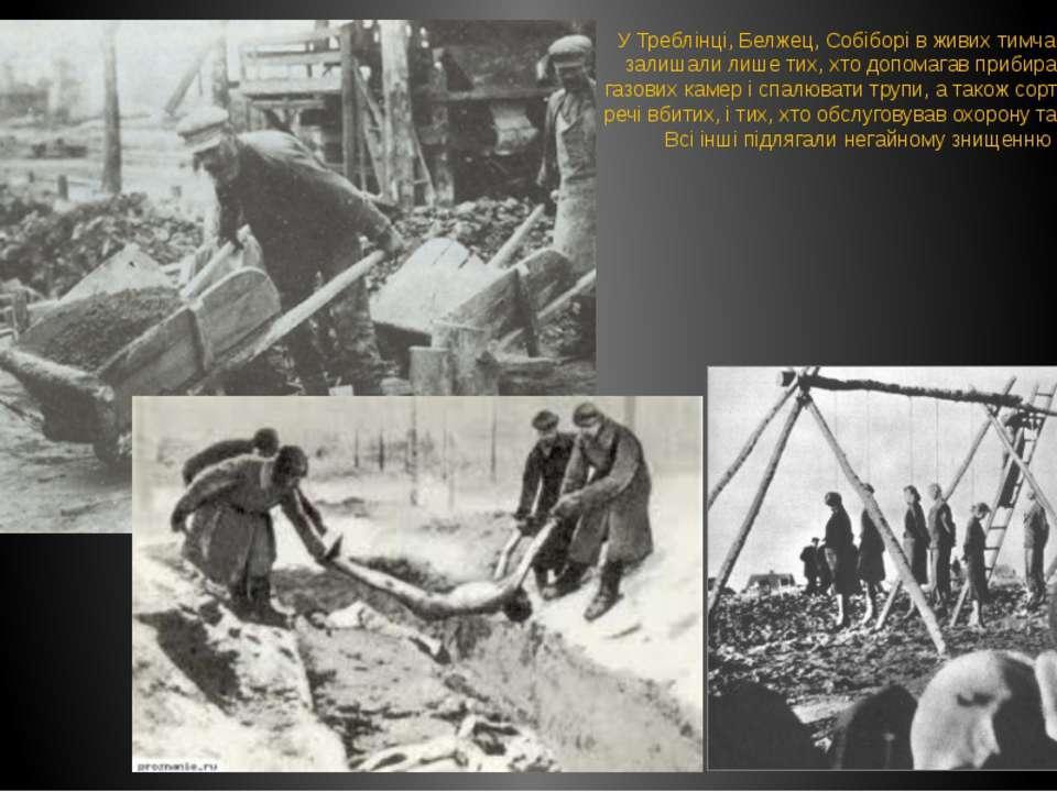 У Треблінці, Белжец, Собіборі в живих тимчасово залишали лише тих, хто допома...