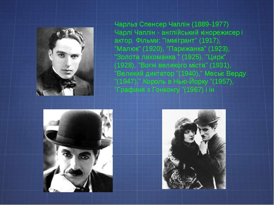 Чарльз Спенсер Чаплін (1889-1977) Чарлі Чаплін - англійський кінорежисер і ак...