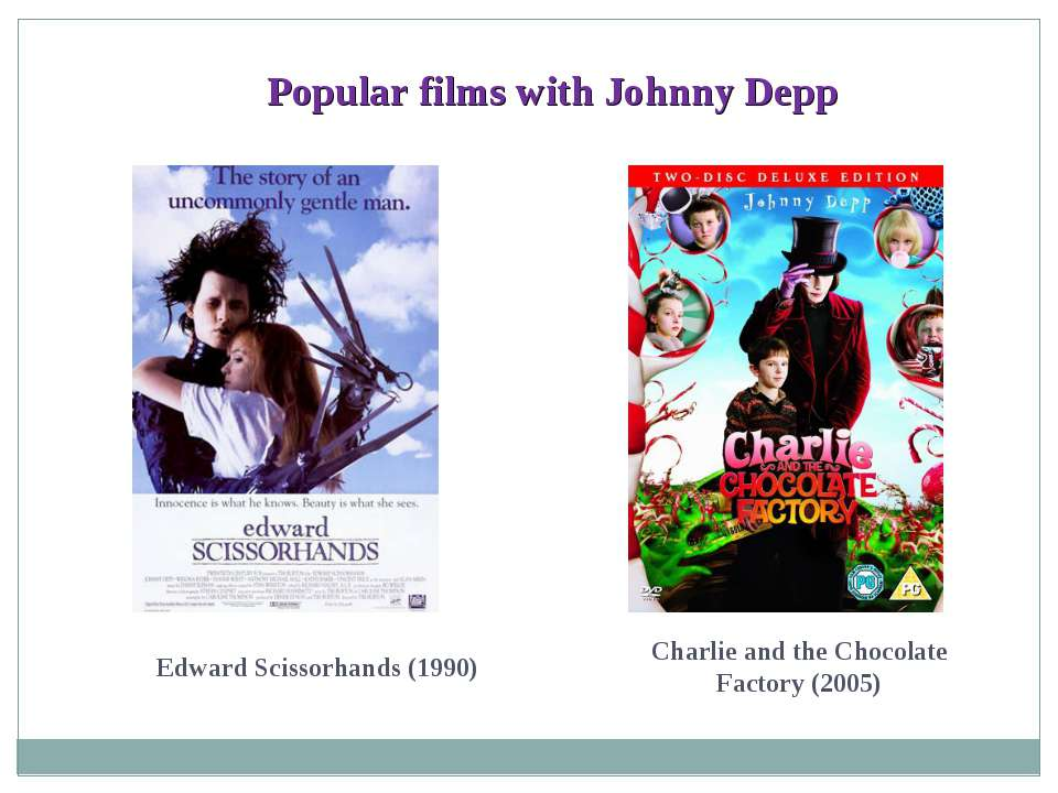 Popular films with Johnny Depp Edward Scissorhands (1990) Charlie and the Cho...