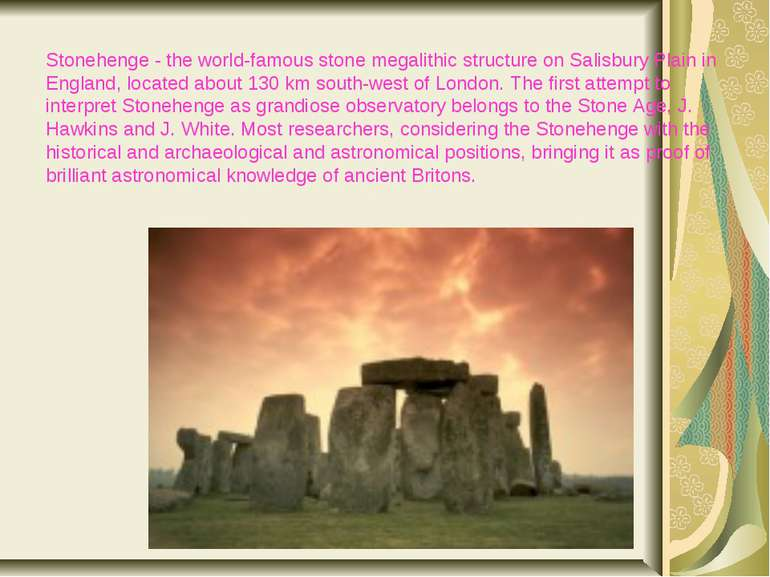 Stonehenge - the world-famous stone megalithic structure on Salisbury Plain i...