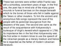 Заголовок підзаголовок These two sonnets were written while Franko was still ...
