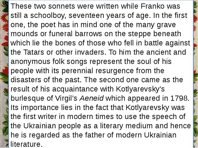 Заголовок підзаголовок These two sonnets were written while Franko was still ...