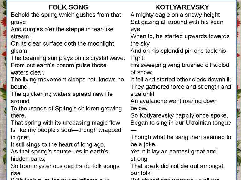 Заголовок підзаголовок FOLK SONG Behold the spring which gushes from that gra...