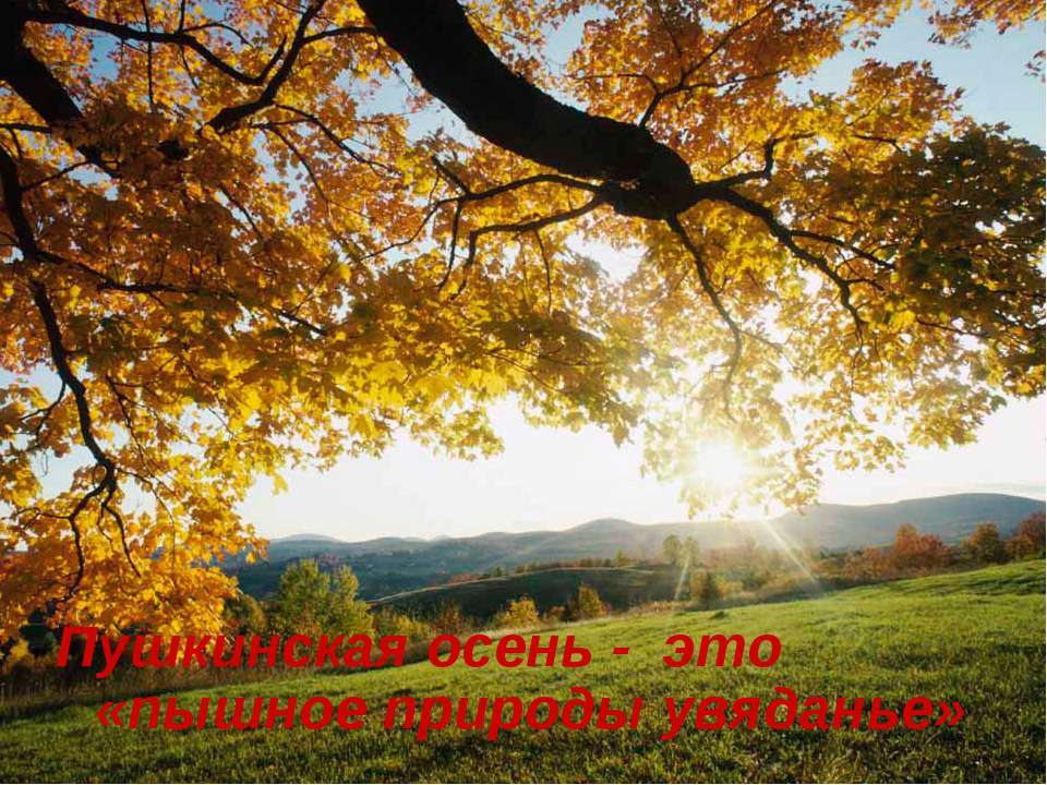 Пушкинская осень - это «пышное природы увяданье»