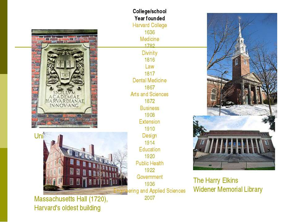 University seal Memorial Church Massachusetts Hall (1720), Harvard's oldest b...