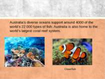Australia's diverse oceans support around 4000 of the world's 22 000 types of...