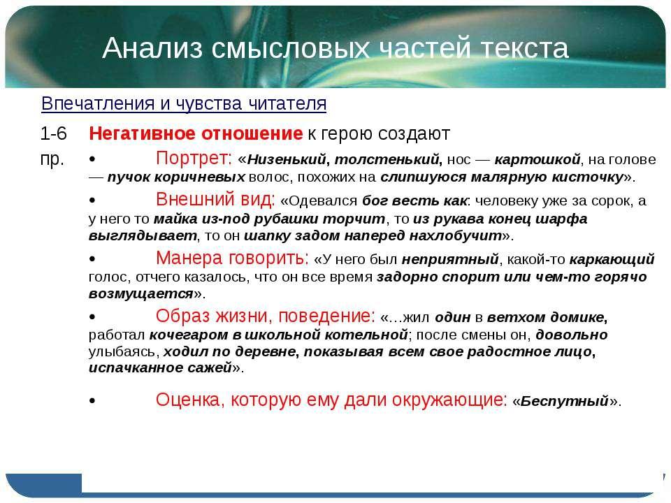 Анализ смысловых частей текста Впечатления и чувства читателя 1-6 пр. Негатив...