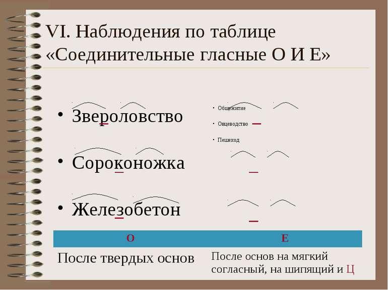 VI. Наблюдения по таблице «Соединительные гласные О И Е» Звероловство Сорокон...
