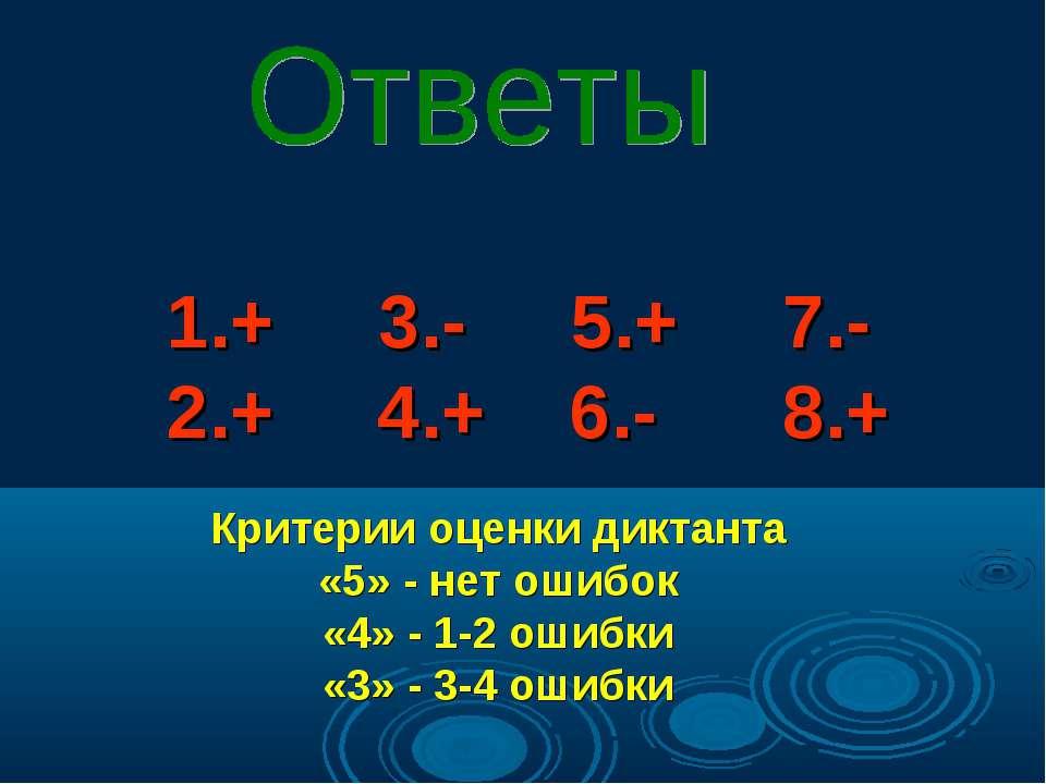 Критерии оценки диктанта «5» - нет ошибок «4» - 1-2 ошибки «3» - 3-4 ошибки 1...