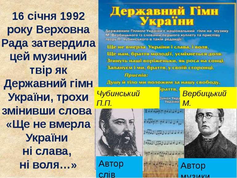 Автор слів Чубинський П.П. Вербицький М. Автор музики