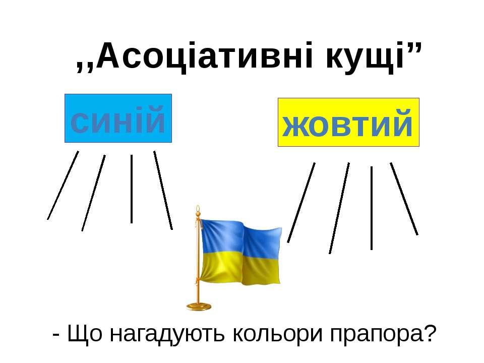 """,,Асоціативні кущі"""" - Що нагадують кольори прапора? синій жовтий"""