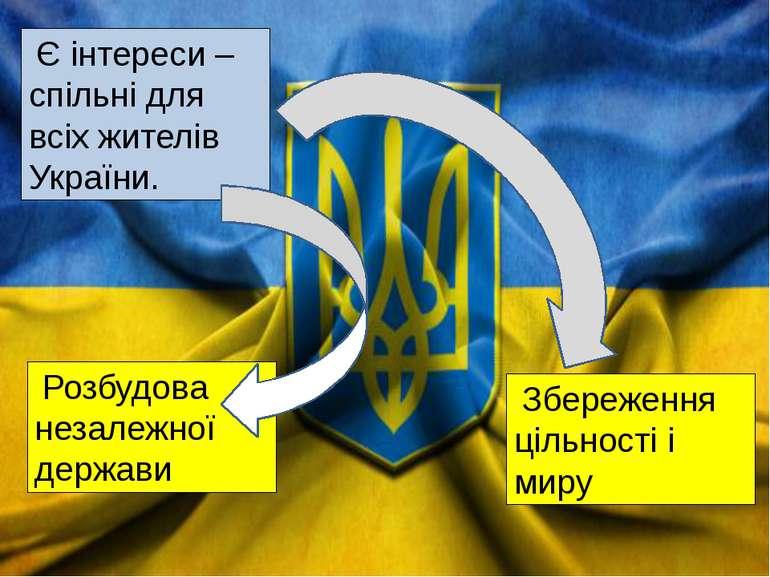 Є інтереси – спільні для всіх жителів України. Розбудова незалежної держави З...