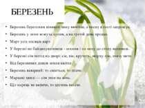 БЕРЕЗЕНЬ Березень березовим віником зиму вимітає, а весну в гості запрошує. Б...
