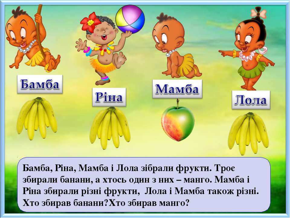 Бамба, Ріна, Мамба і Лола зібрали фрукти. Троє збирали банани, а хтось один з...