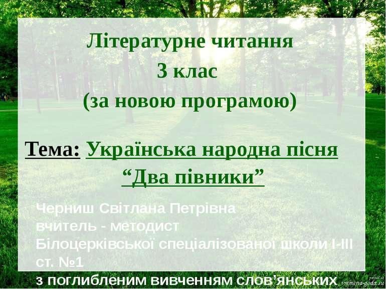 Літературне читання 3 клас (за новою програмою) Тема: Українська народна пісн...