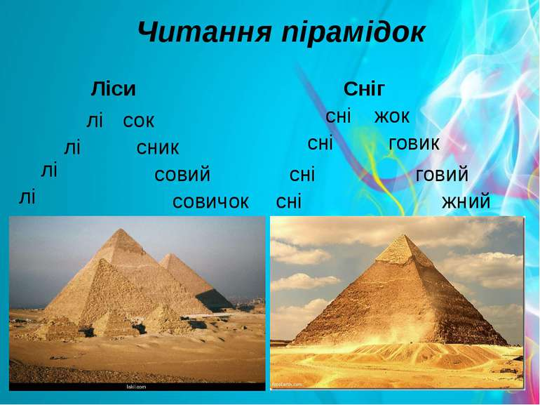 Читання пірамідок Ліси Сніг лі лі лі лі сок сник совий совичок сні сні сні сн...
