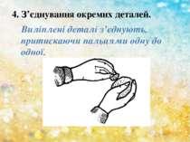 4. З'єднування окремих деталей. Виліплені деталі з'єднують, притискаючи пальц...