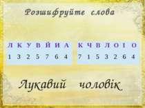 Розшифруйте слова Лукавий чоловік Л К У В Й И А 1 3 2 5 7 6 4 К Ч В Л О І О 7...