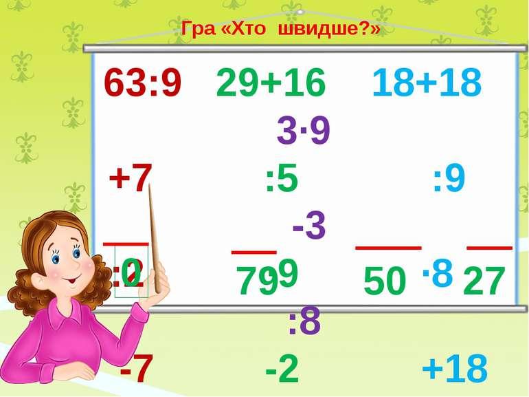 63:9 29+16 18+18 3∙9 +7 :5 :9 -3 :2 ∙9 ∙8 :8 -7 -2 +18 ∙9 0 79 50 27 Гра «Хто...