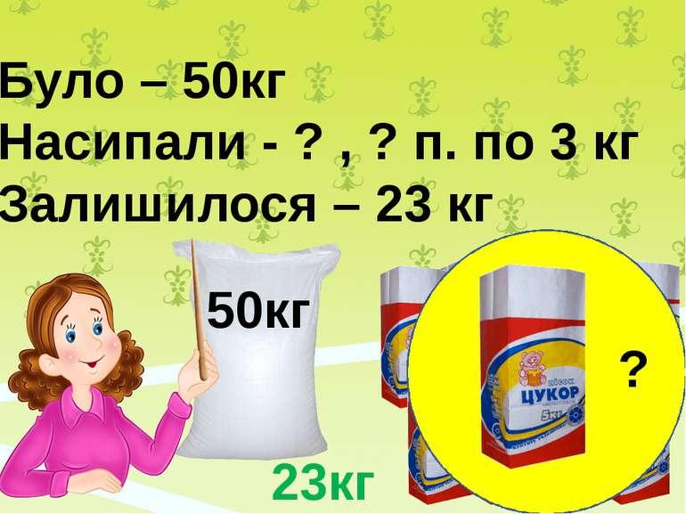 50кг Було – 50кг Насипали - ? , ? п. по 3 кг Залишилося – 23 кг ? 23кг