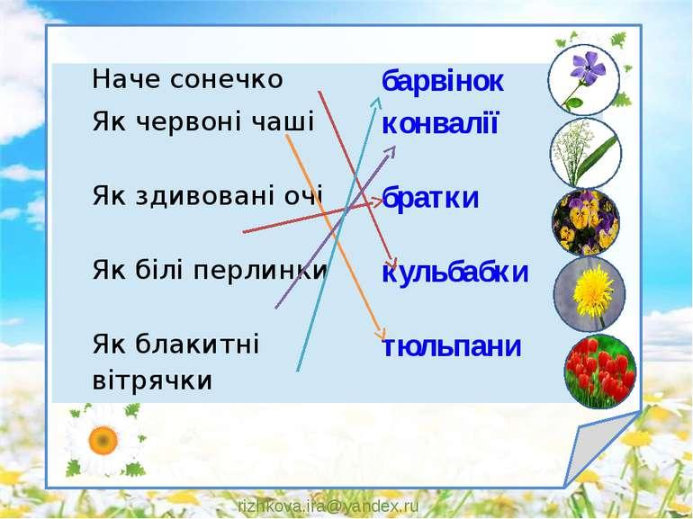rizhkova.ira@yandex.ru Наче сонечко барвінок Як червоні чаші конвалії Як здив...