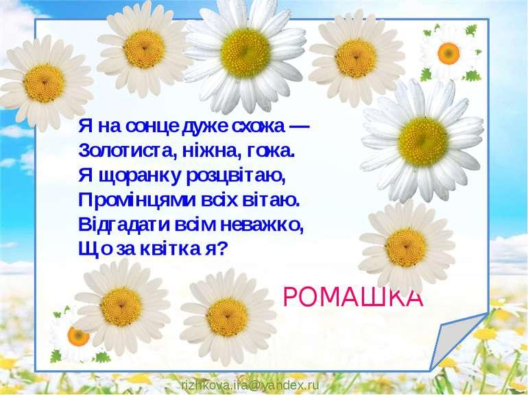 rizhkova.ira@yandex.ru Я на сонце дуже схожа — Золотиста, ніжна, гожа. Я щора...
