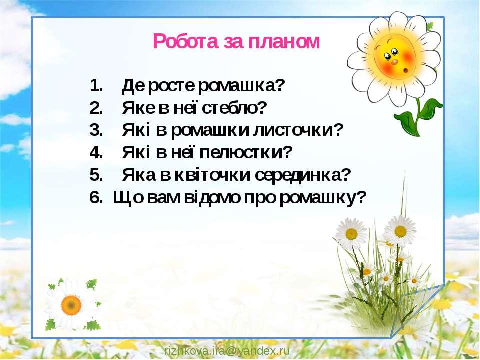 rizhkova.ira@yandex.ru 1. Де росте ромашка? 2. Яке в неї стебло? 3. Які в ром...