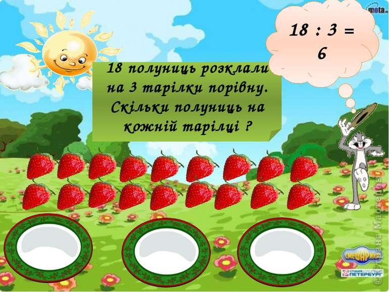 18 полуниць розклали на 3 тарілки порівну. Скільки полуниць на кожній тарілці...