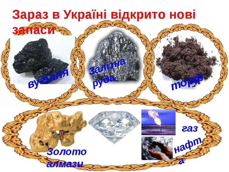Зараз в Україні відкрито нові запаси вугілля Залізна руда торф Золото алмази ...