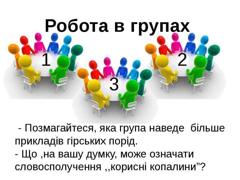 Робота в групах - Позмагайтеся, яка група наведе більше прикладів гірських по...