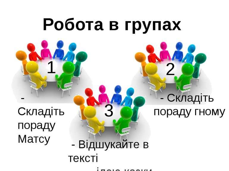 Робота в групах - Відшукайте в тексті ідею казки 1 2 3 - Складіть пораду Матс...