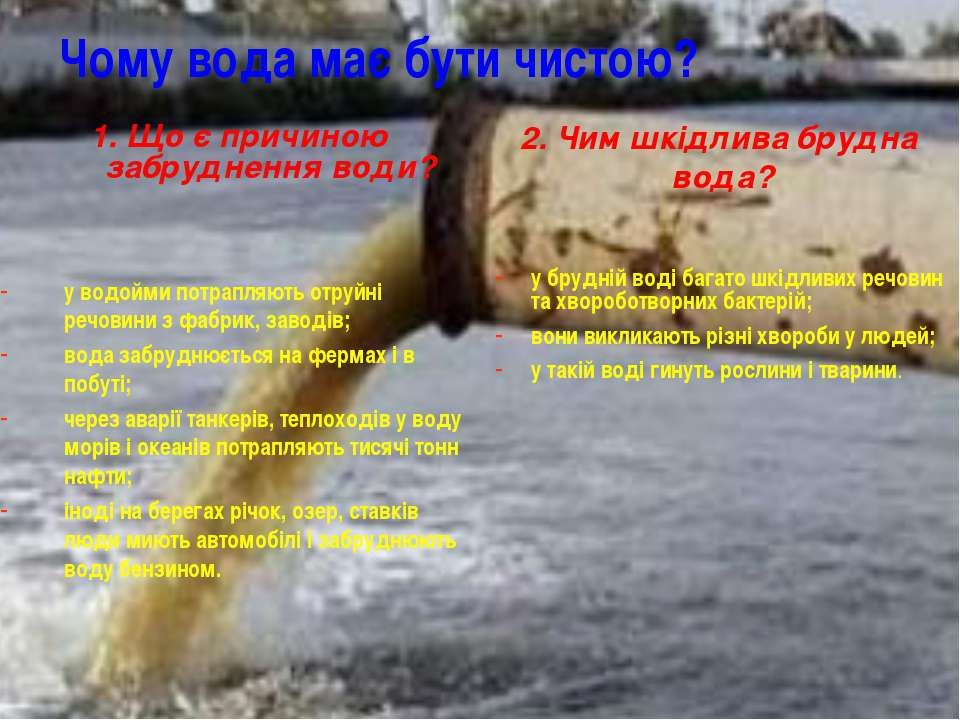 Чому вода має бути чистою? 1. Що є причиною забруднення води? у водойми потра...