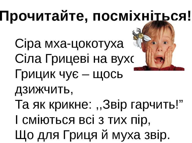 Прочитайте, посміхніться! Сіра мха-цокотуха Сіла Грицеві на вухо. Грицик чує ...