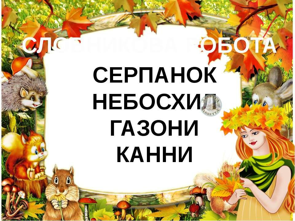 СЛОВНИКОВА РОБОТА СЕРПАНОК НЕБОСХИЛ ГАЗОНИ КАННИ