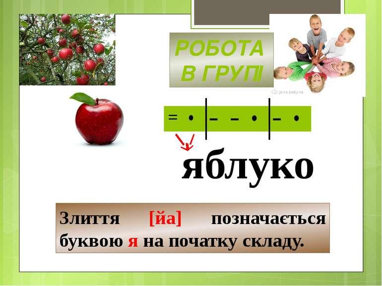 яблуко Злиття [йа] позначається буквою я на початку складу. РОБОТА В ГРУПІ = ...