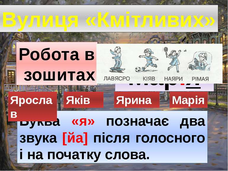 Вулиця «Кмітливих» Робота в зошитах Буква «я» позначає два звука [йа] після г...