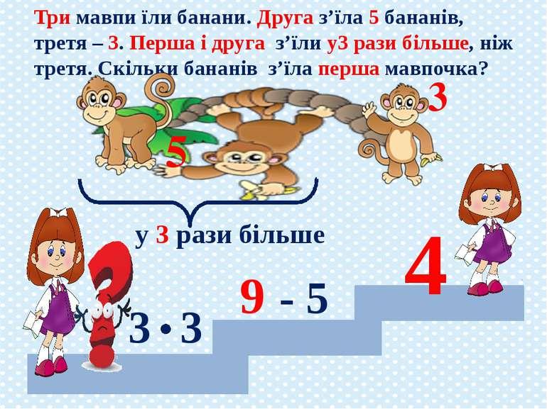Три мавпи їли банани. Друга з'їла 5 бананів, третя – 3. Перша і друга з'їли у...
