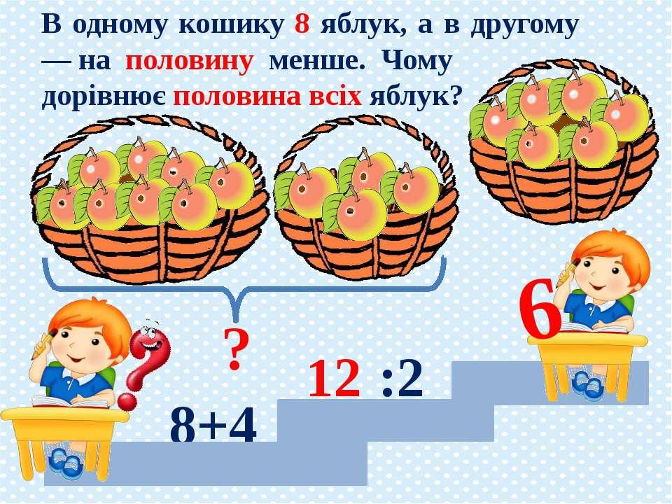 8+4 12 В одному кошику 8 яблук, а в другому — на половину менше. Чому дорівню...